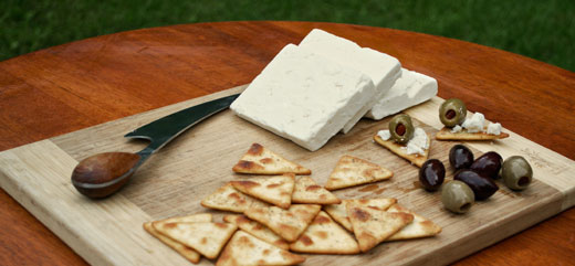 feta cheese and crackers