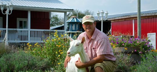 Steve with a Goat on the Farm